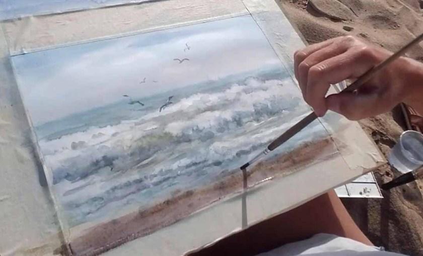 Comment peindre les vagues à l'aquarelle. Derniers coups de pinceau