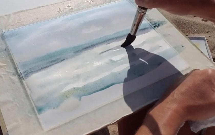 Peindre le vagues à l'aquarelle. Couleurs de la mer