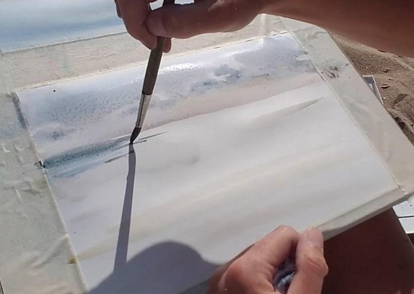 Par quoi commencer à peindre la mer en aquarelle en contre-jour