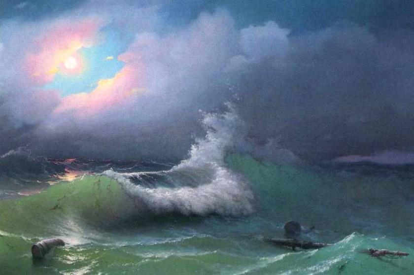 Transparence des vagues surl l'exemple du tableau d'Aïvazovski