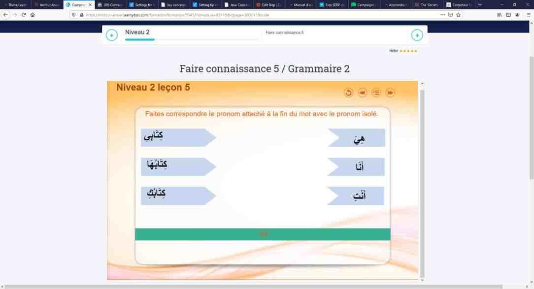 exercice d'arabe interactif