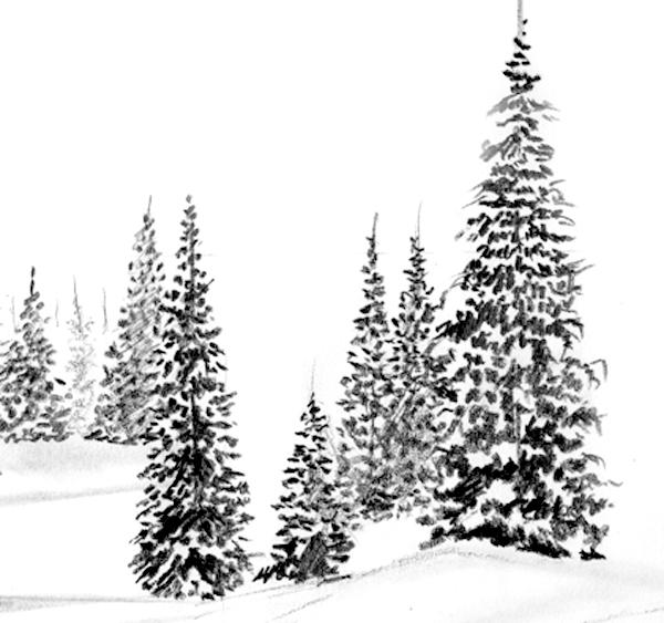 Apprenez dessiner un paysage de neige apprenez a - Sapin a dessiner ...