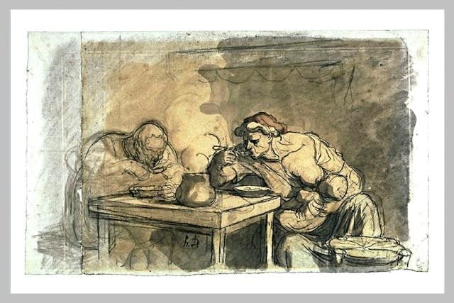 La soupe lavis aquarellé par Daumier
