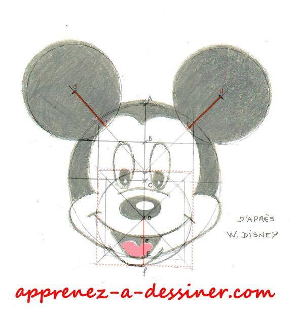 Superposition de la tête de Mickey Mouse avec son tracé directeur.