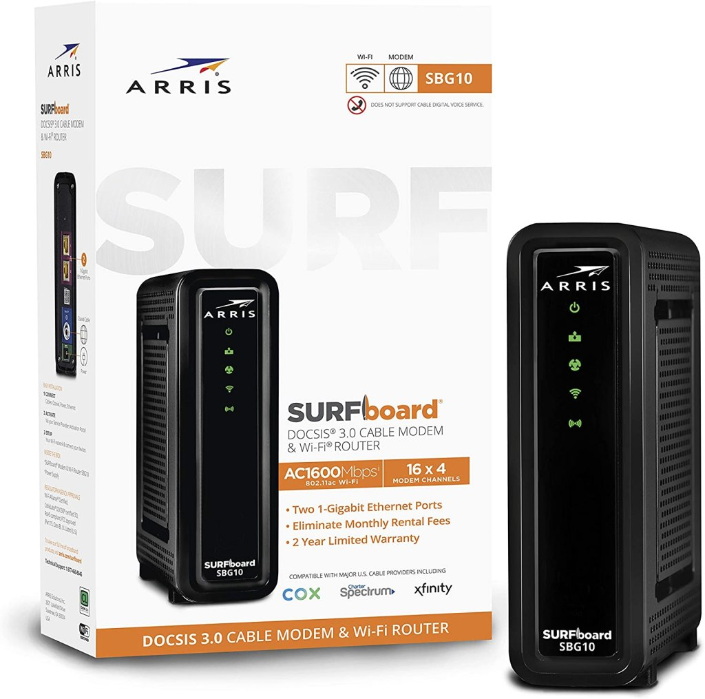 arris surfboard sbg10 wifi cable modem router combo