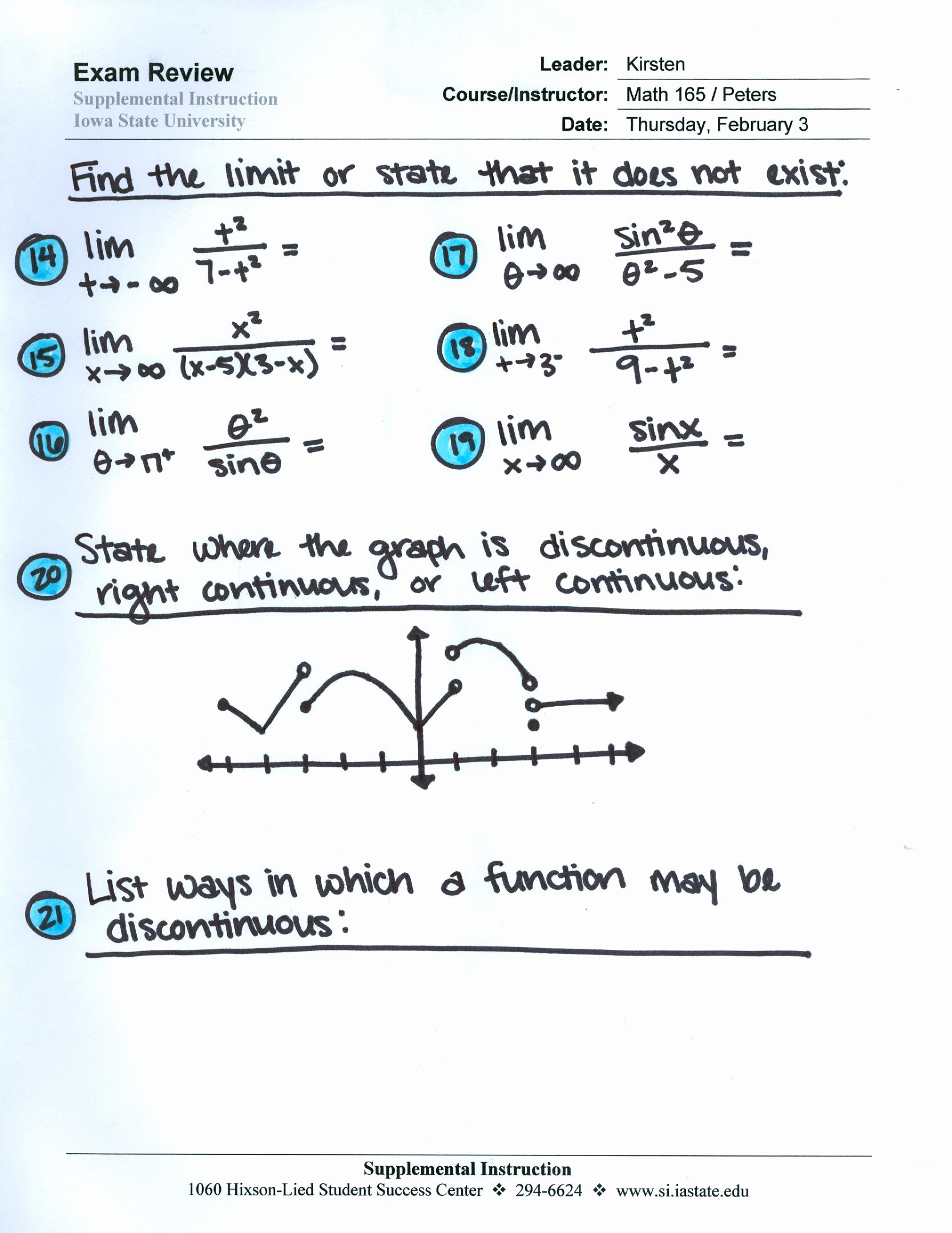 Math 165 B G Supplemental Instruction