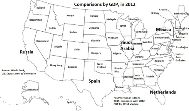 Map: GDP of US states compared to other countries