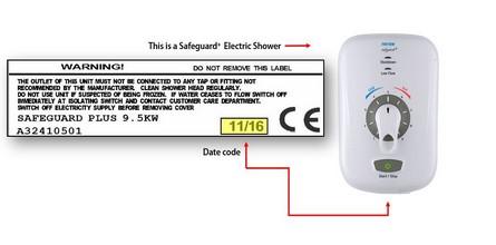 Triton shower safeguard serial number