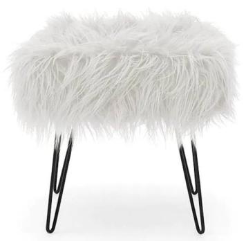 Lulu Ivory Footstool dunelm