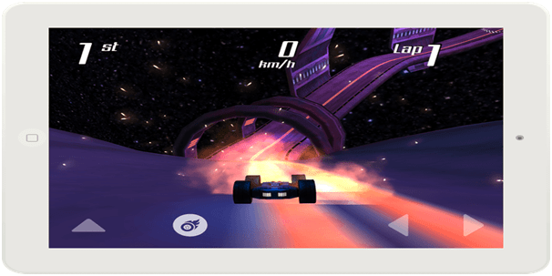 A futuristic racing game on a tablet by one of the best mobile app development companies