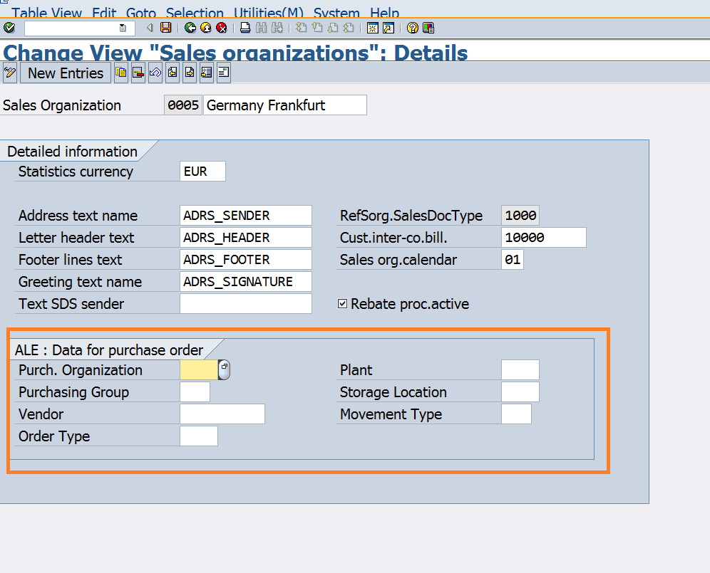hight resolution of maintain the purchase order information at sales organization level in sap