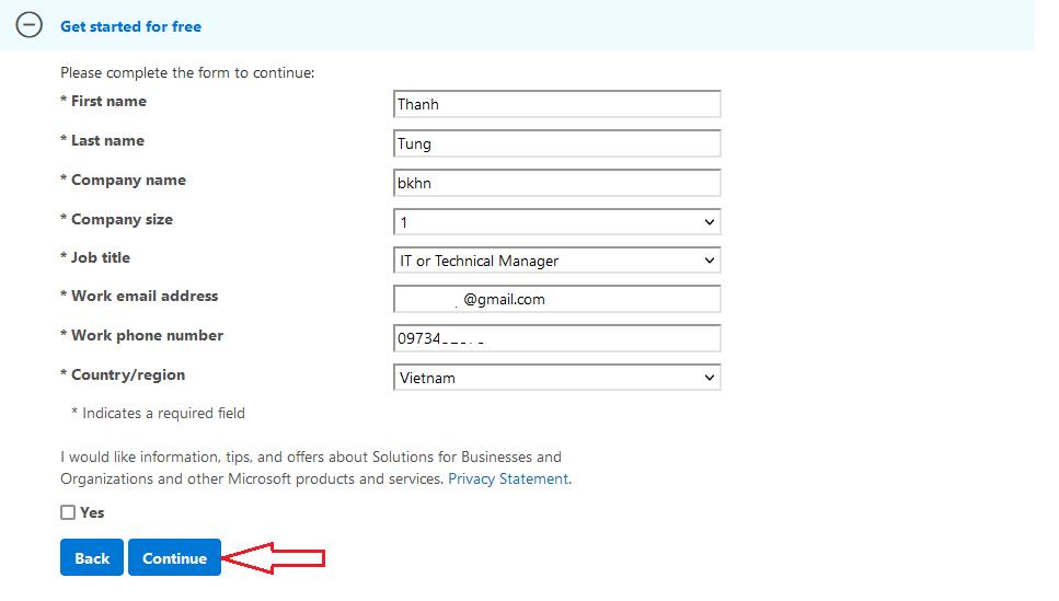 remplir le formulaire Windows Server 2019