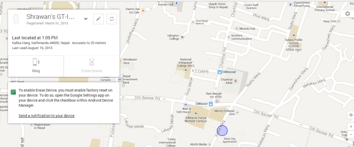 how to find lost phone in android device manager