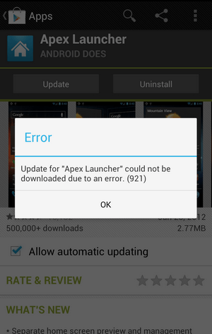 Error 921 while downloading apps in google store: android fix.