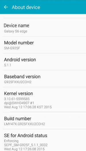 Root Samsung Galaxy S6 Edge - build number