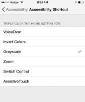Gray scale shortcut