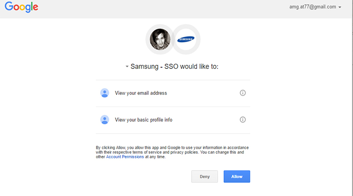 g+ authorize - create Samsung account
