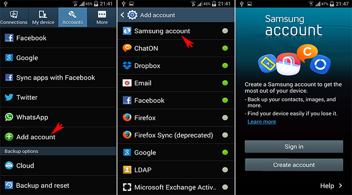 samsung account device - create Samsung account