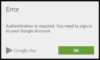 """Authentication is required"" Error in Google Play Store"