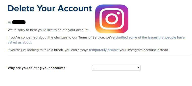 How to delete your instagram account appslova permanently delete instagram account ccuart Images