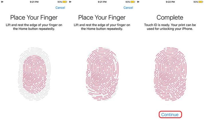 Set fingerprint in iPhone 7