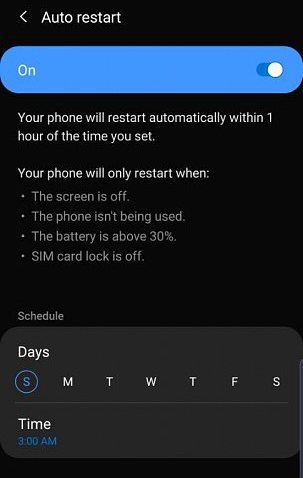 Fix automatic restart on Samsung Galaxy Note 10