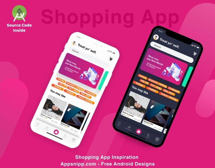 Free shopping app design with dark mode for android - App Snipp