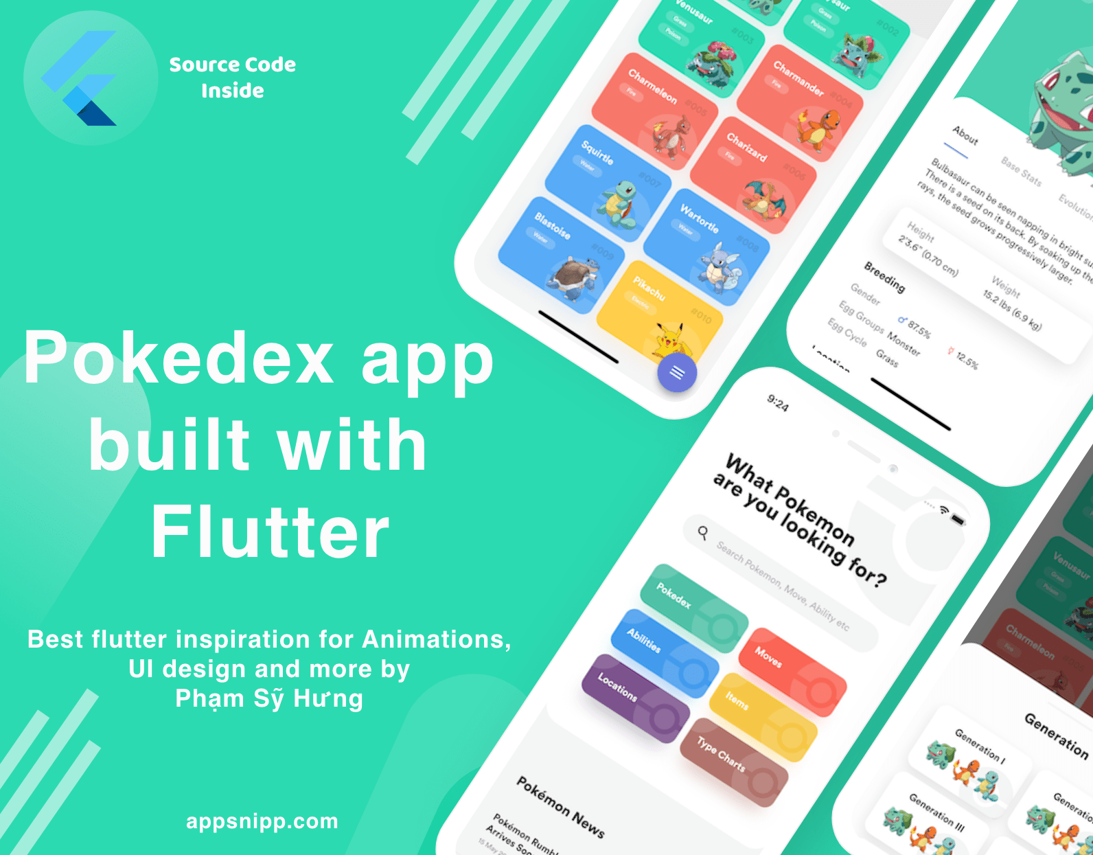 Pokedex – Best Flutter UI Animations, and designs by Phạm Sỹ Hưng