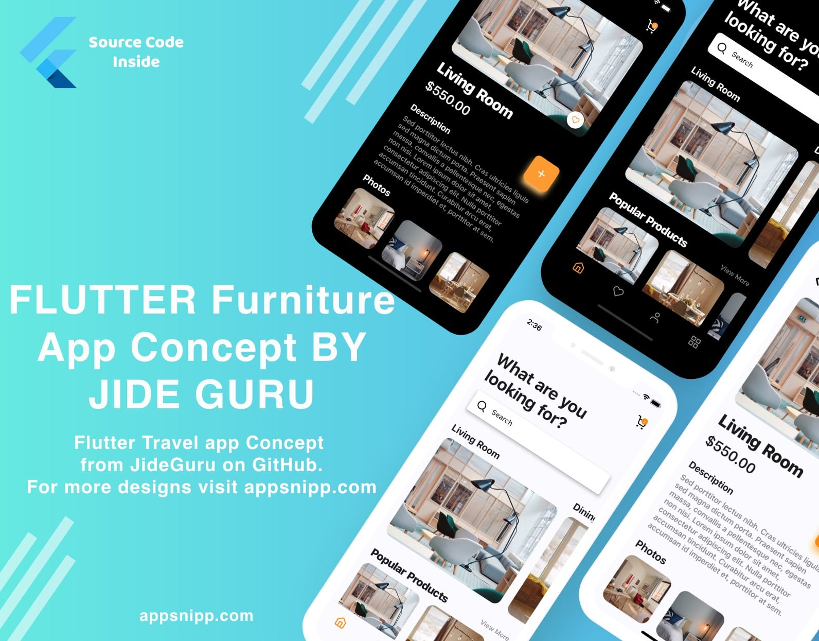 Free Flutter Furniture / eCommerce App UI Kit by Jide Guru