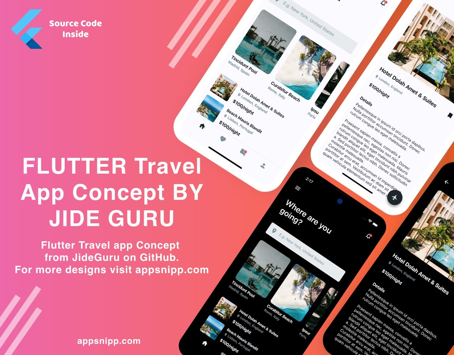 Free Flutter Travel App UI Kit by Jide Guru