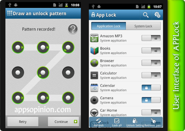 applock user interface