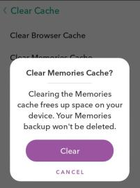 Snapchat memories clear cache