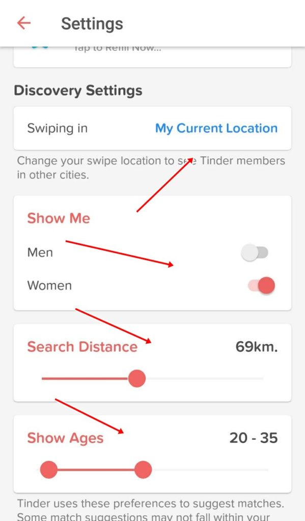 Tinder location settings