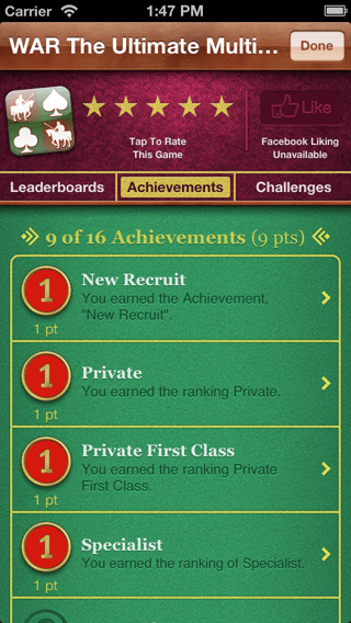 War the Ultimate Multiplayer Experience Game Center Achievements screenshot.