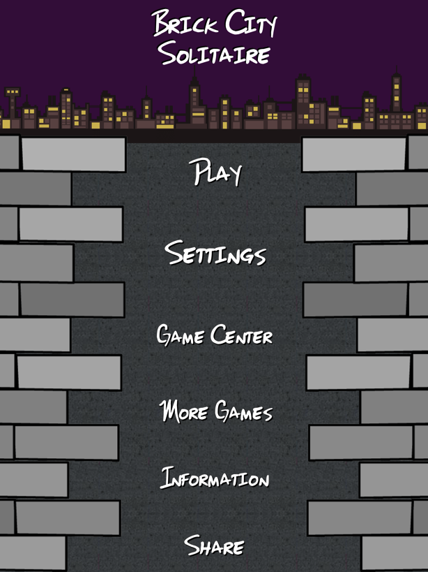 Screenshot of Brick City Solitaire's main menu taken from an iPad.