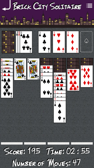 Brick City Solitaire iOS app screenshot.