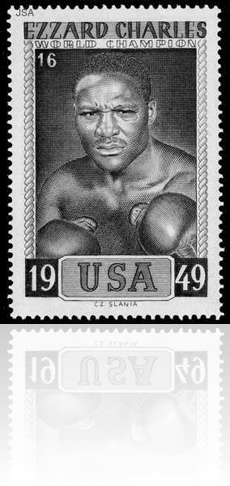 Legendary boxer Izzard Charles postcard image with reflection underneath.
