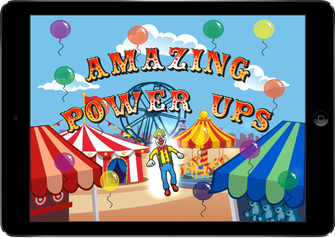 Laugh Clown Professional Balloon Dodger iPad screenshot of Laugh Clown in power up mode.