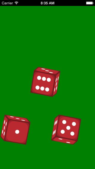 Dice roller app 3 die in motion screenshot.