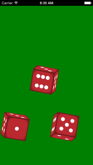Dice roller app 3 die in motion screenshot.