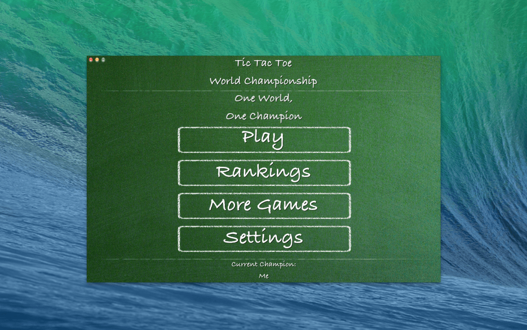 Tic Tac Toe World Championship Mac app screenshot of the main menu.
