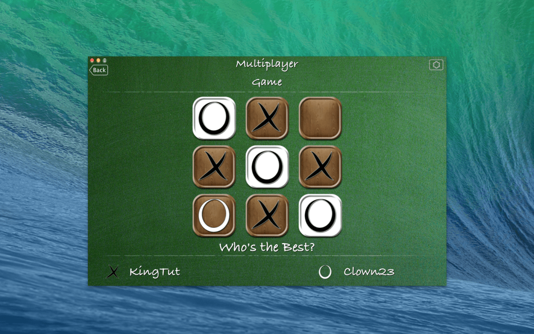 Tic Tac Toe World Championship Mac app screenshot of an ended game with 'O' player winning.