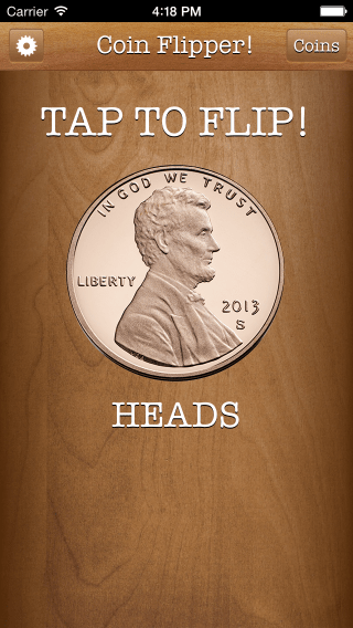 Flip a Coin App iPhone 5 screenshot showing penny on head.