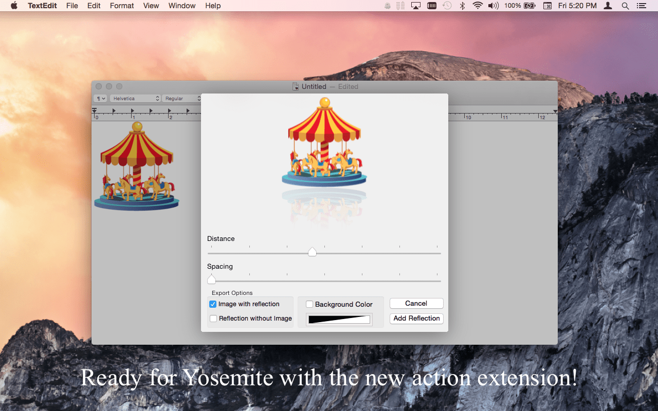 Easy Image Reflection Mac app screenshot showing the Action extension being used from the TextEdit application.