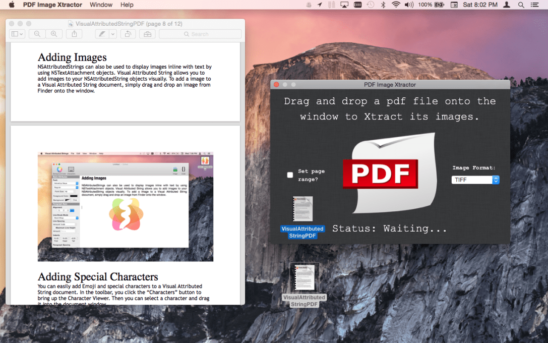 PDF Image Xtractor Mac app screenshot of pdf file being dragged on to the window.