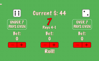 Under Over iPhone 5 screenshot of eight dice value.