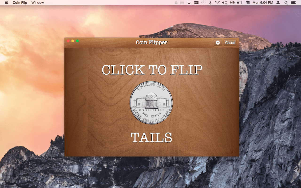 Coin Flip Mac App screenshot of nickel on tails.