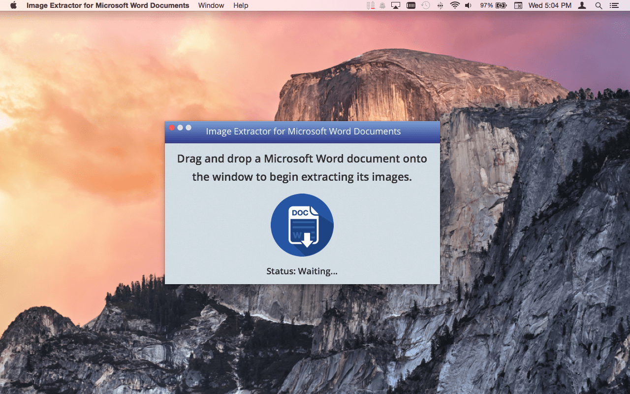 Image Extractor for Microsoft Word Documents Mac app screenshot.