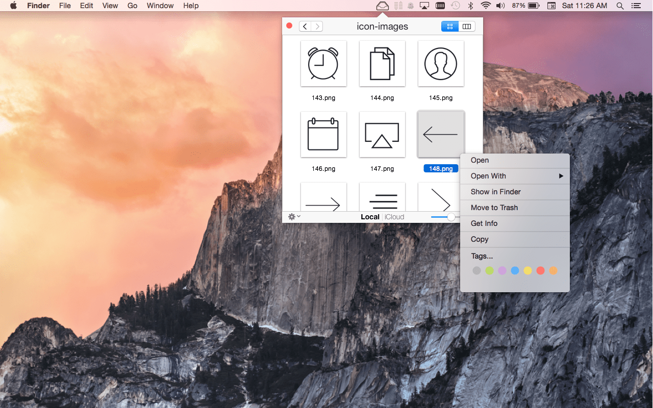 File Cabinet Pro Mac App screenshot showing right click context menu.