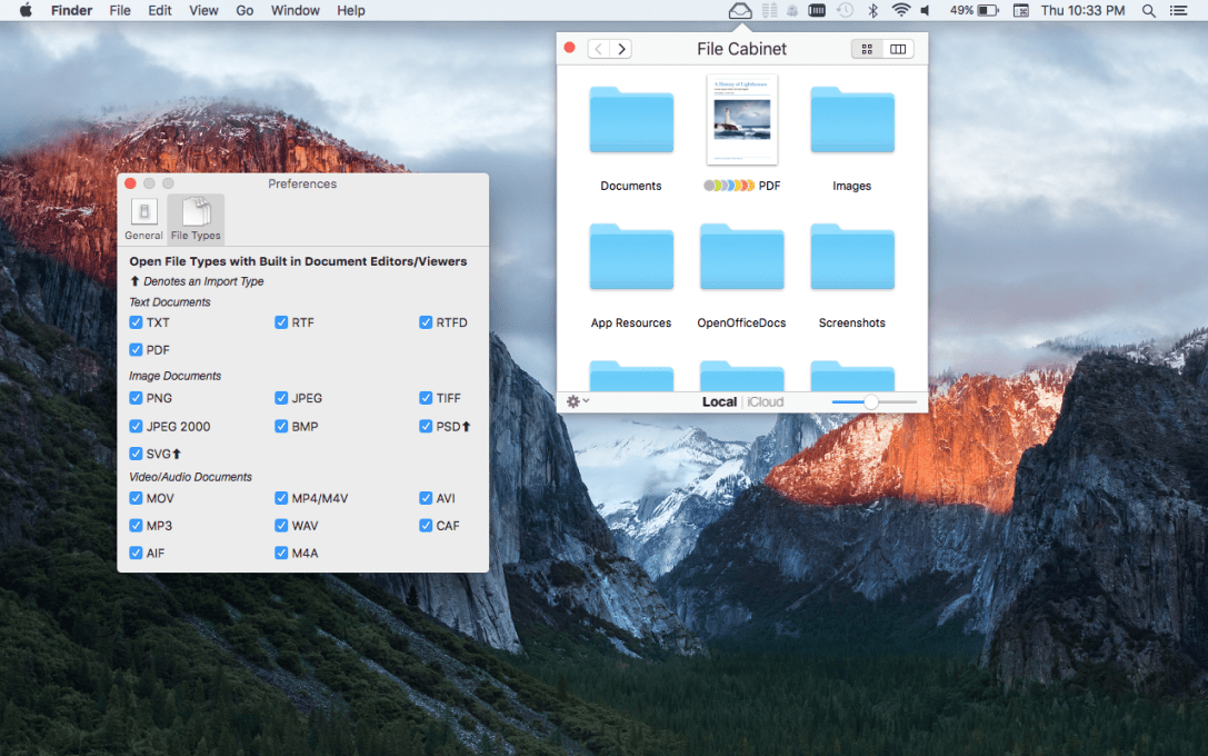 File Cabinet Pro Mac app screenshot with the settings window showing.